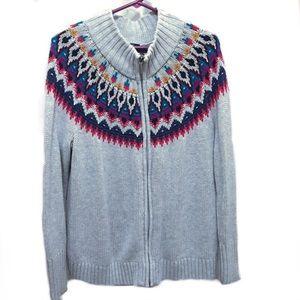 Chaps Gray Sweater Cardigan Fair Isle Zip Closure